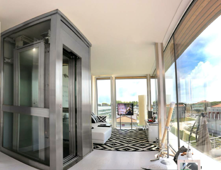 Panoramic glass wall finish tesla lifts cabin car